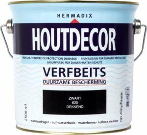 Hermadix Houtdecor Verfbeits Dekkend - 2,5 liter - 620 Zwart